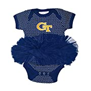 Two Feet Ahead NCAA Georgia Tech Children Girls Pin Dot Tutu Creeper,12 mo,Navy