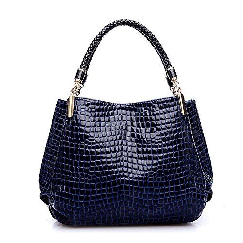 TOOGOO(R) Crocodile Pattern Shoulder Bag Fashion Women Crocodile Pattern Leather Shoulder Bag Female Tote Handbag, Navy blue