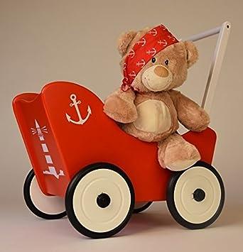 Excl. Diseño Madera Muñeca carro Maritim Rojo Freno + Andador textil Carrito de muñecas de Suabia Kids®: Amazon.es: Bebé