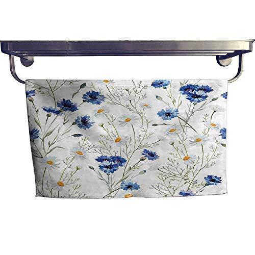 Watercolor Flower Print Towel Set Wildflowers and Cornflowers Daisies Blooms Flower Buds Hand Towels W 8
