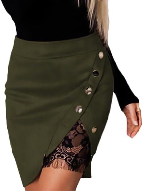 Faldas Mujer Cintura Alta Slim Fit Ajustado Botones con Encaje ...