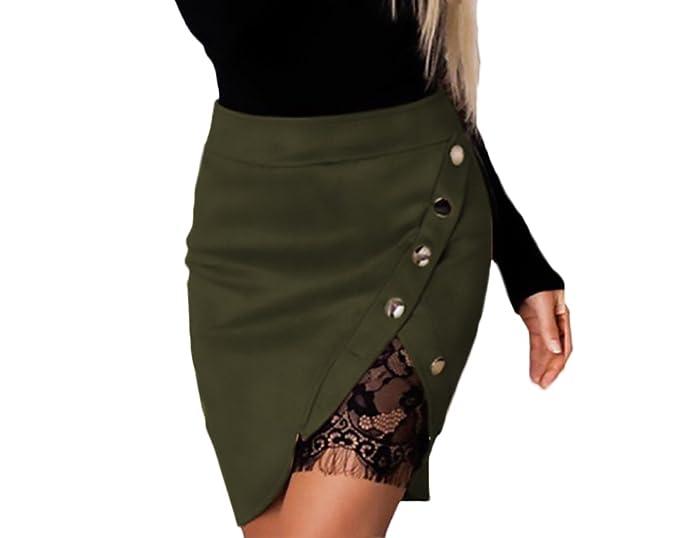 Faldas Mujer Cintura Alta Slim Fit Ajustado Botones con Encaje Elegantes  Joven Bastante Moda Vintage Asimetricos Irregular Corta Falda Tubo  Minifalda Women  ... 412839234409