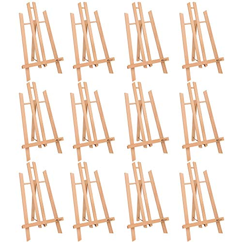 """MEEDEN 20"""" Tall Tabletop Easel - 12PCS Medium Tabletop Display Solid Beech Wood Easel, for Kids Artist Adults Classroom/Parties Painting Display, Standing Easel, Hold Canvas Art up to 20"""" High"""