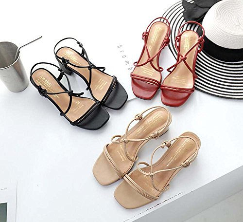 Strap Chaussures Eu Toe Chunkly Ankel Shoes Chaussures Court Slingbacks 41 Croix Solide Femmes Sandales 34 Talon Open 6cm Taille Roma Décontractées Chaussures D'orsay Pompe Robe Beige Confortable ZxB1dnY