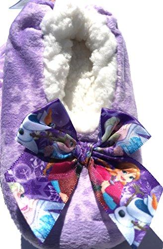 Purple Frozen Toddler Slipper Sock w/ Grippers Faux Fur Lined 2T-3T