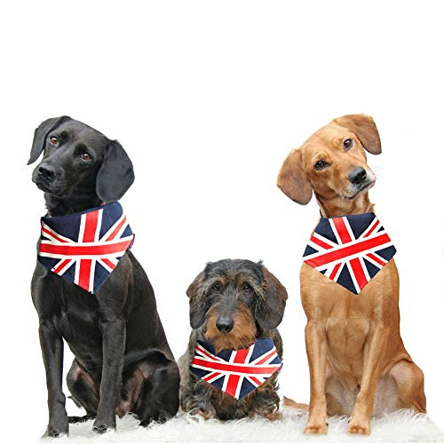 Yu-Xiang Pet Canvas Flag Bandana Dog Hanging Ornament Cat Collar Pet Triangle Towel for Independence Day Halloween and Any Occasion (UK, S)