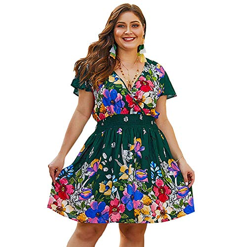 (Holagift Women's Plus Size Dress Boho Floral Print Belt Tie Wrap Casual Summer Beach Dress (Army Green, 18W))