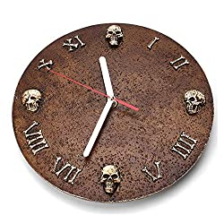 Vuffuw Retro Round Shaped Wall Clock Halloween Creative Gift Skull Silent Demon Hanging Home Decorative Clock with Roman Numbers for Home,Office,Cafe,Bar,Hotel and Restaurant-Brown