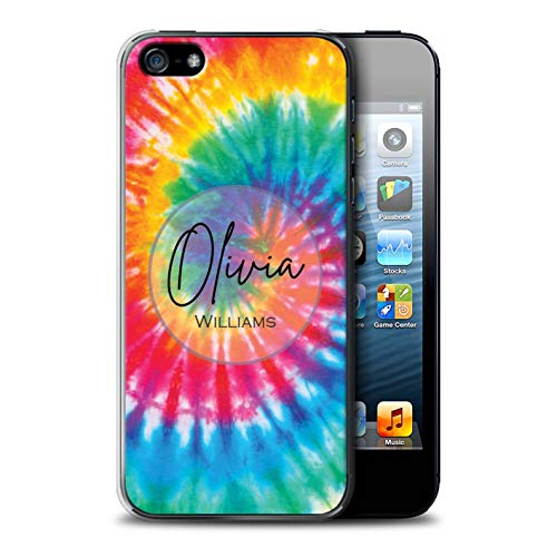 Personalized Custom Fabric Tie-Dye Patterns Case for Apple iPhone 5/5S / Rainbow Eclipse Swirl Design/Initial/Name/Text DIY Cover (Eclipse Bumper Case For Apple Iphone 5 5s)