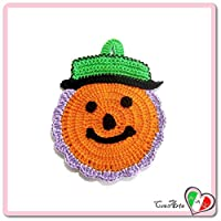 Orange Purple and Green crochet pumpkin potholder for Halloween - Size: 4.1 inch x 5.9 inch H - Handmade - ITALY