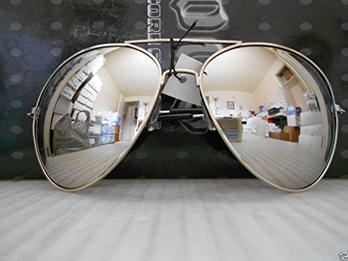 Aviator Sunglasses Extra Large Silver Mirrored Lenses Over sized Silver - Sunglasses Oem