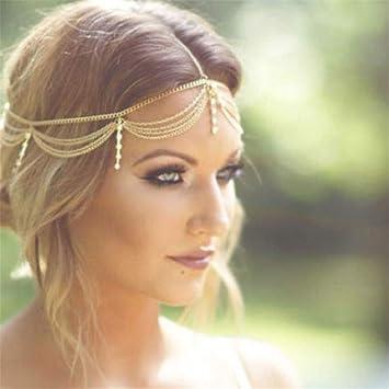 Boho Gold Draping Crystal Hair Cuff Arabian