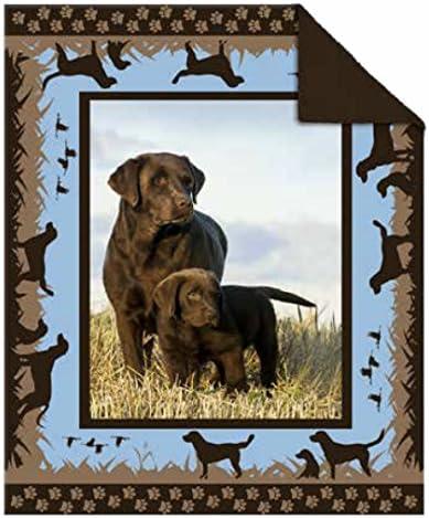 Brown Labrador Theme Photoreal Printed Short Fur Throws with Fleece Reverse 50 x 60 Chocolate Labrador Dog Throw Blanket