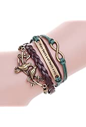 Where There's a Will There's a Way Bracelet Mutil-layer Double Kiss Birds Rope Charm Bracelets