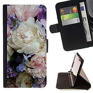 Momo Phone Case / Flip Funda de Cuero Case Cover - Colorido delicado ramo de las flores - Samsung Galaxy J1 J100
