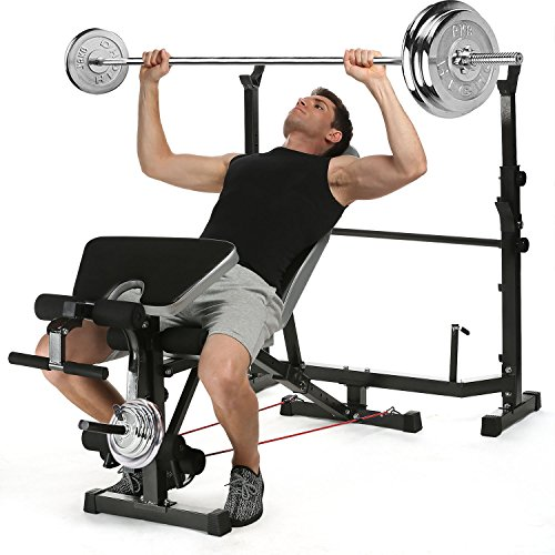 ANCHEER Adjustable Olympic Weight Bench with Preacher Curl/ Leg Developer, US Stock by ANCHEER