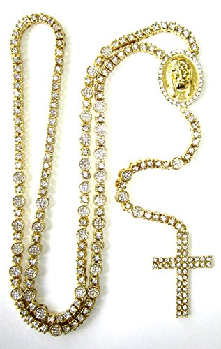 Iced Out 14K Gold Plated Cz Simulated Diamond Cluster Hip Hop Rosary Cross 36