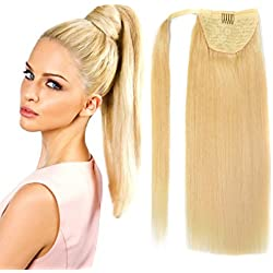 "18"" Straight Wrap Around Ponytail Human Hair extensions for Women 100gram Bleach Blonde #613"