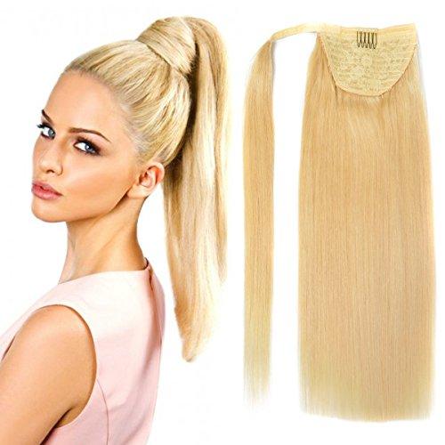 18' Straight Wrap Around Ponytail Human Hair extensions for Women 100gram Bleach Blonde #613