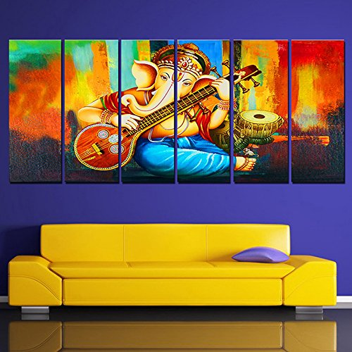 Ray Decor (54 Inch X 24 Inch)Sparkling Ganesha Wall Painting -6 Frames