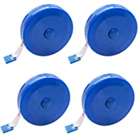 Push Button Craft Tape Measures - 60 inch 150cm Retractable,Blue Pack of 4