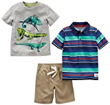 Simple Joys by Carter's Boys' Toddler 3-Piece Playwear Set, Stripes/Lizards/Khaki, 4T