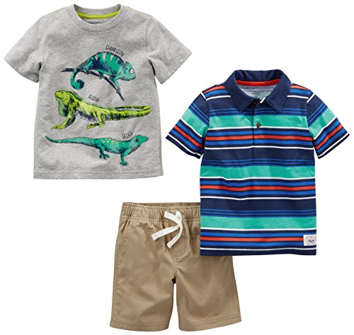 Simple Joys by Carter's Baby Boys' Toddler 3-Piece Playwear Set, Stripes/Lizards/Khaki, 2T ()