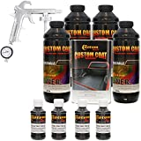 Custom Coat BLACK METALLIC 4 Liter Urethane Spray-On Truck Bed Liner Kit with (FREE) Custom Coat Spray Gun with Regulator
