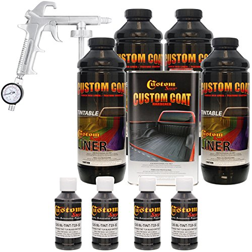 Custom Coat BLACK METALLIC 4 Liter Urethane Spray-On Truck Bed Liner Kit with (FREE) Custom Coat Spray Gun with Regulator by Custom Shop