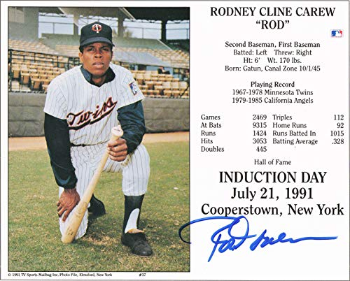 (Rod Carew Hand Signed 10 x 8 Photo Card Signed in Blue Felt Pen)