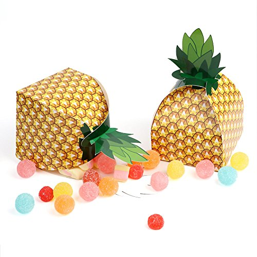 PartyTalk 24pcs Pineapple Favor Boxes 3D Large Pineapple Gift Boxes Tropical Hawaiian Luau BBQ Summer Beach Pool Fruit Party Decorations (Gold Element Truffles)