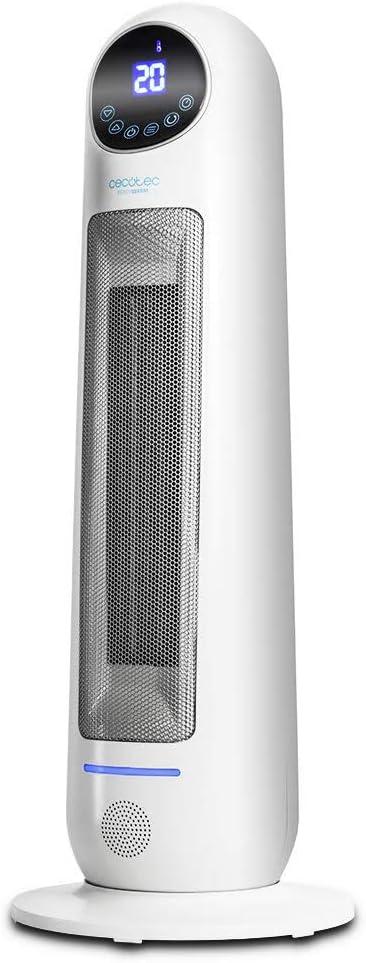 Cecotec Calefactor Cerámico Ready Warm 10100 Smart Ceramic. Pantalla LED, Oscilante, 3 Modos, Mando a Distancia, Termostato Regulable, Sistema Antivuelco, Protección sobrecalentamiento, 2200 W
