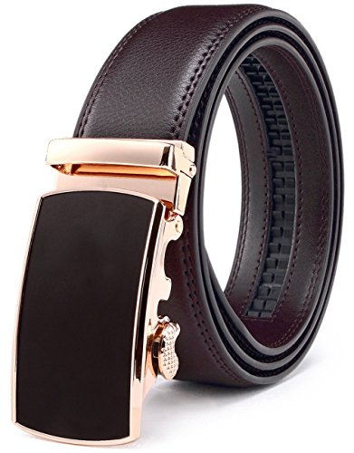 Men's Belt, Bulliant Leather Ratchet Belt for Men with Sliding Buckle 1 3/8' In Gift Box, Trim to Fit.