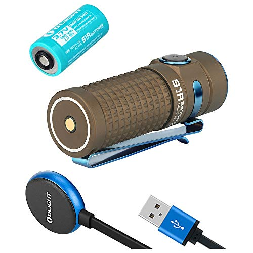 Olight S1R II Baton Desert Tan 1000 Lumen Compact Rechargeable LED Flashlight with Single RCR123A Battery, Magnetic USB Charging Cable, Lanyard and Pouch