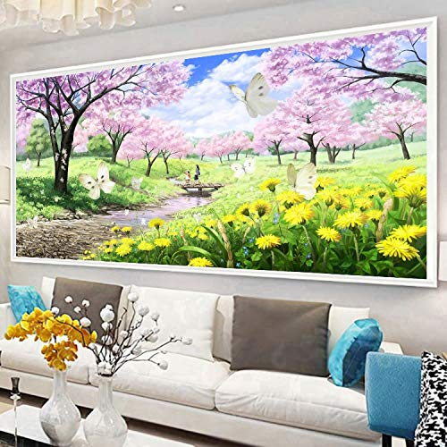 Zamtac 5D DIY Full Square Diamond Painting Mosaic Pink Cherry BlossomsDiamond Rhinestone Embroidery Cross Stitch Home Decor Gift - (Color: A, Size: 280X110) by Ochoos (Image #3)