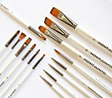 #8: Professional Paint Brush set (15) by MontJunto | Great value. For artists, beginners or students. For all art paint oil, acrylic, watercolor, gouache, body/face paint. Zip Case included.