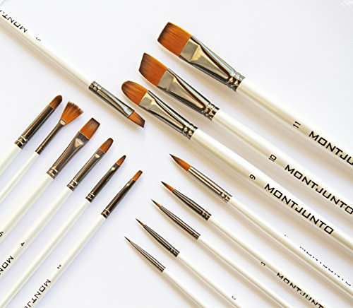 NEW Professional Art Paint Brush set (15) by MontJunto | Great value. For artists, beginners or students. For all art paint oil, acrylic, watercolor, gouache, body/face paint. Zip Case included.