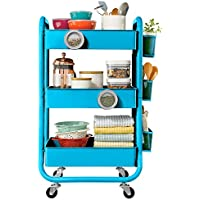 DESIGNA 3-Tier Metal Rolling Utility Cart with Handle, Craft Art Carts & Extra Office Storage Accessories (Turquoise)