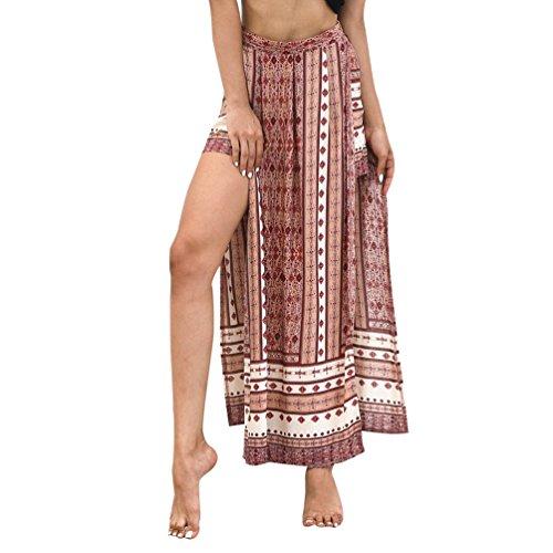 WanYangg Femme t Causal Style De Vacances Split Taille Haute Couture Imprim Irrgulier Jupe-Pant Pantalon Jupe Rouge