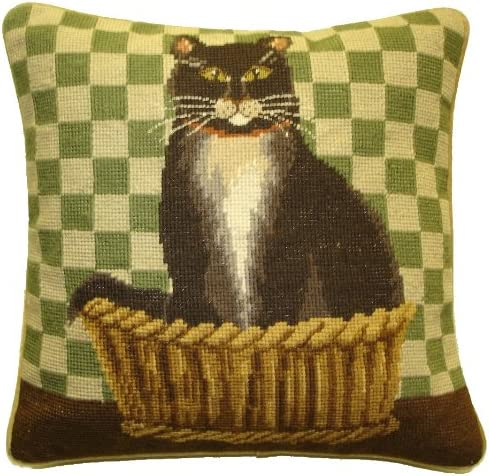 Deluxe Pillows Black and White Cat – 15 x 15 in. needlepoint pillow