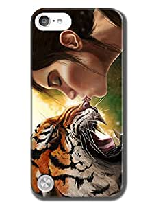 DIY Thinnest Background Protection Extreme Heavy Duty Hard Back Cover Case Compatible With IPod Touch 5(girl kiss tiger)