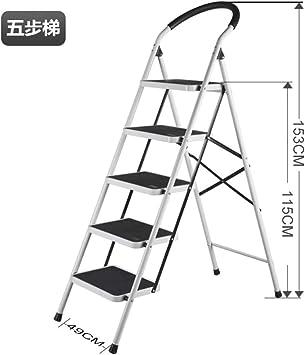 LADDER Escalera Casa Doblez Interior Cargar Los Portes Estable Multifunción Ligero Sencillo en Pequeña Escala la Seguridad Aluminio Metal Escaleras Tramo Espesar Escalera/Blanco / 5 pasos: Amazon.es: Bricolaje y herramientas