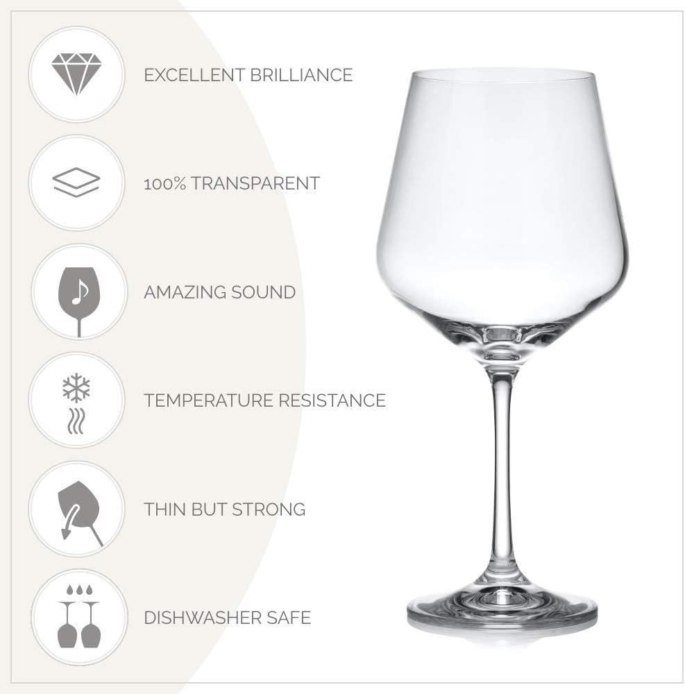 Bohemia Cristal Sandra - Copa de Vino (6 Unidades, en Caja de Regalo, Capacidad 570 mililitros, Talla única)