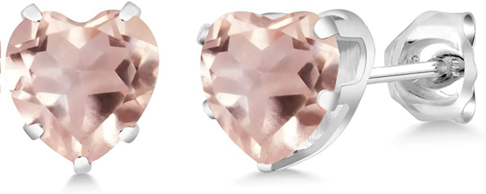 Gem Stone King 18K Rose Gold Plated Silver Stud Earring Made with Fancy Pink Swarovksi Zirconia