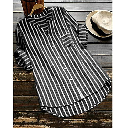 - Lotus.Flower Womens Plus Size Summer Striped V Neck Blouses Loose Baggy Tops Tunic T Shirts