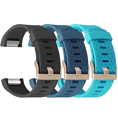 UMAXGET for Fitbit Charge 2 Bands Rose Gold Buckle, Silicone Replacement Strap for Fitbit Charge 2 Special Edition Lavender, Pack 3 Black&Gray Green&Sky Blue Small