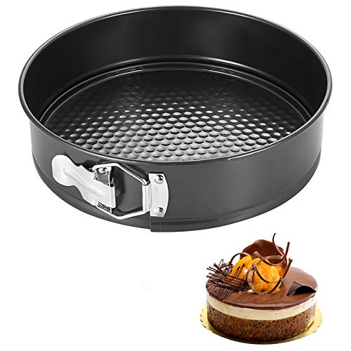 iFCOW anti-aanbakvorm taartblikjes, bakblik met losse basis bakplaat taartvorm 22.5 * 22.5 * 6.8cm Zwart