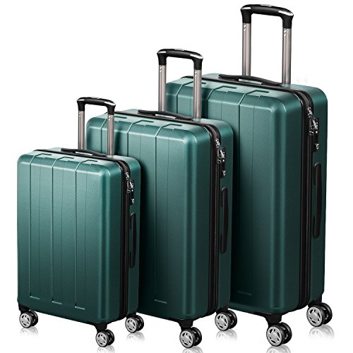 QuaCity Trolley Sets of 3 Piece PC+ABS Spinner Hard Shell Suitcase Lightweight Luggage (20'' 24'' 28'') (Dark Green) by QuaCity