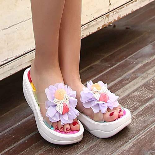 Mujer Blanco De Zapatos Sandalias Cuña Verano Playa Chanclas Zapatillas Oscilante Para Blancas wZqqtSxaF