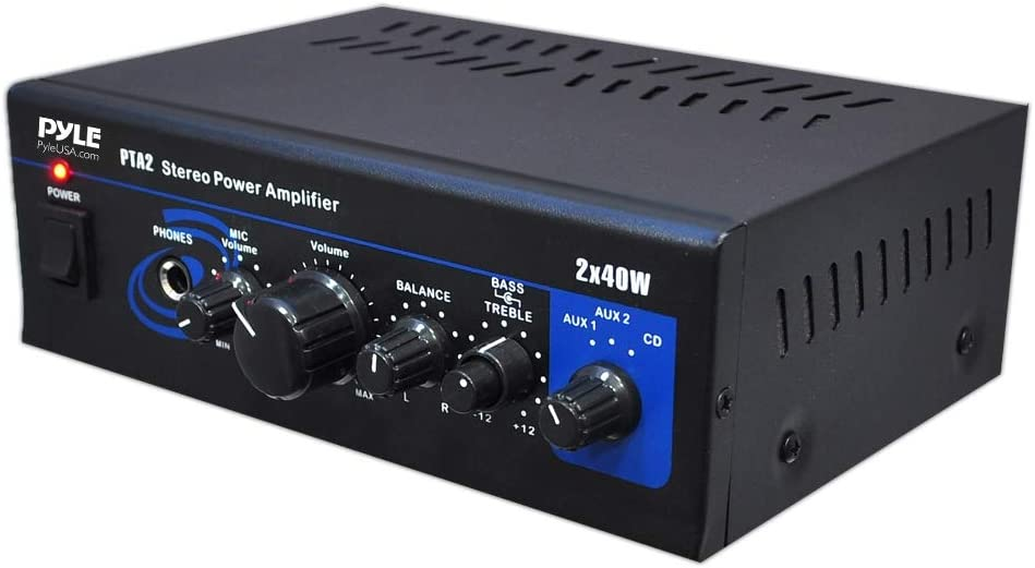 Home Audio Power Amplifier System - 2X40W Mini Dual Channel Mixer Sound Stereo Receiver Box w/ AUX, Mic Input - For Amplified Speakers, PA, CD Player, Theater via RCA, Studio Use - Pyle PTA2